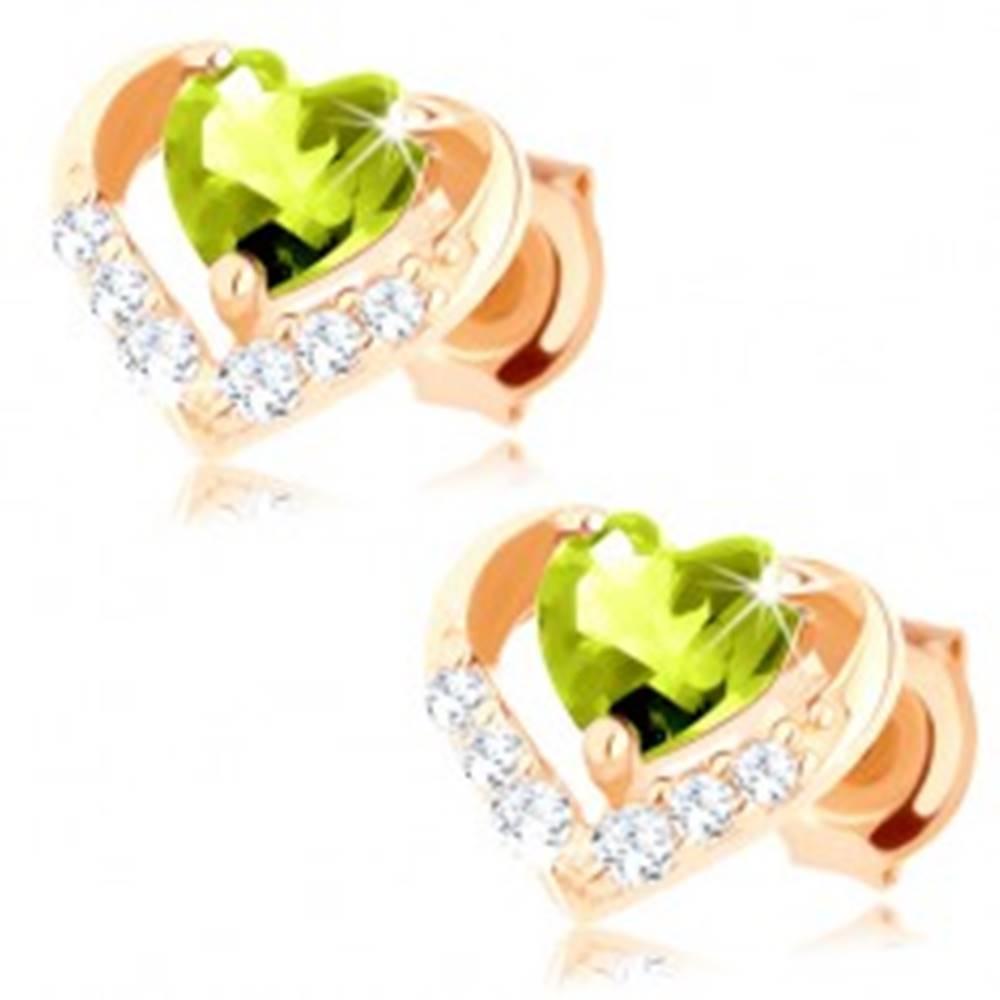 Šperky eshop Náušnice zo žltého 14K zlata - zelené olivínové srdiečko v ligotavej kontúre