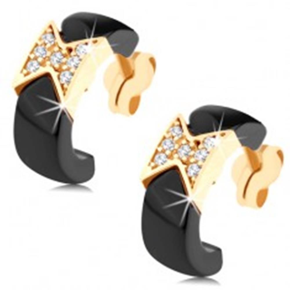 Šperky eshop Náušnice zo žltého 9K zlata - čierne keramické polkruhy, ligotavá mašlička