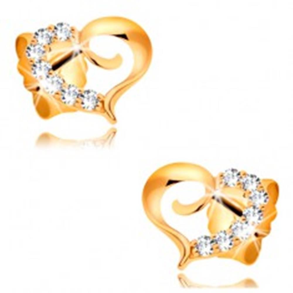 Šperky eshop Náušnice zo žltého zlata 585 - kontúra asymetrického srdca so zirkónovou polovicou