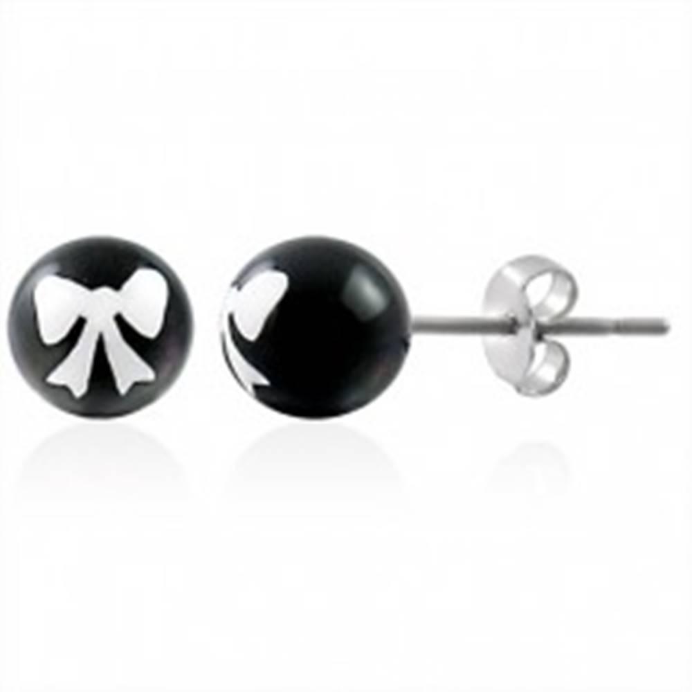 Šperky eshop Oceľové náušnice, čierna gulička s bielou mašličkou, puzetové zapínanie