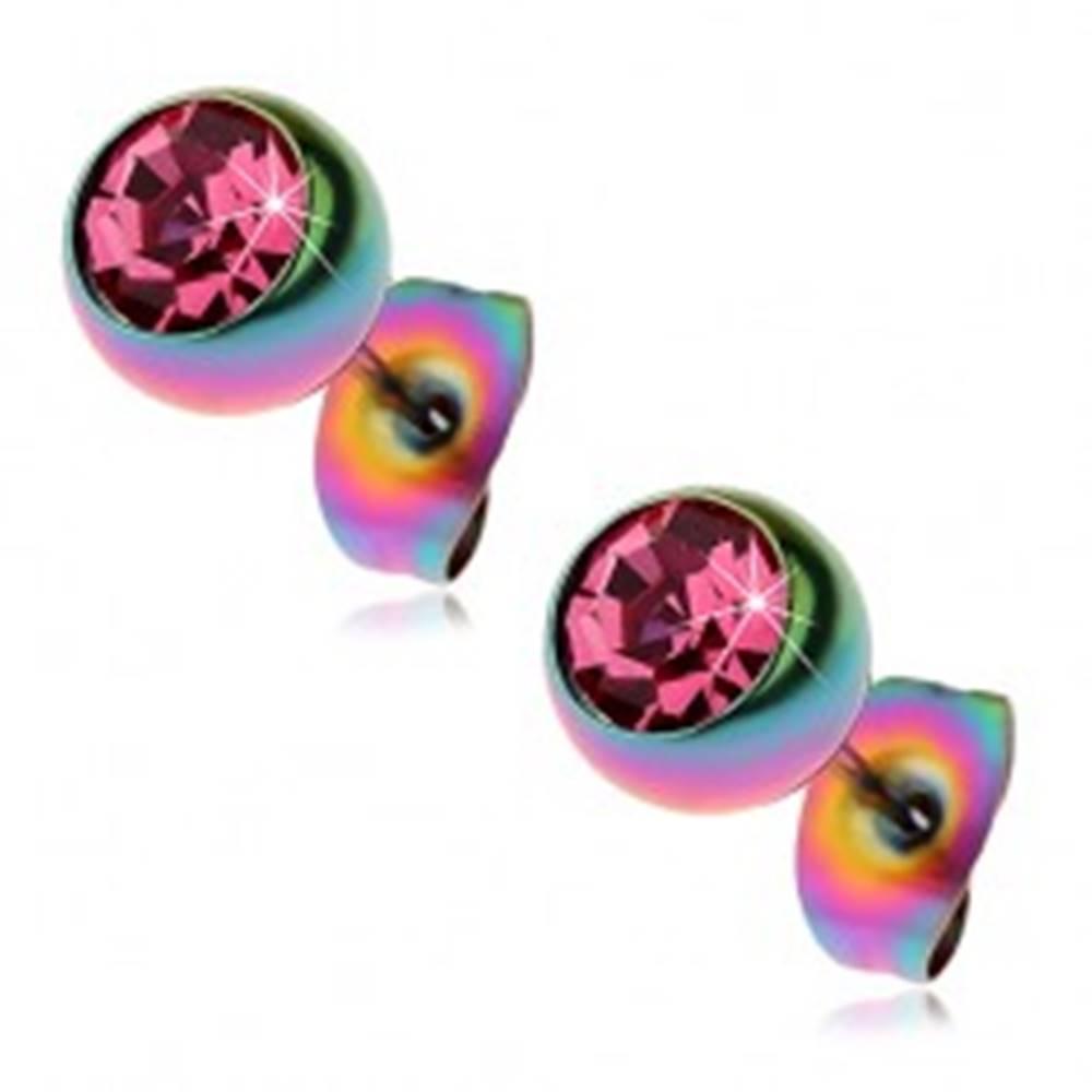 Šperky eshop Oceľové náušnice, dúhové guličky s ružovým zirkónom, 7 mm