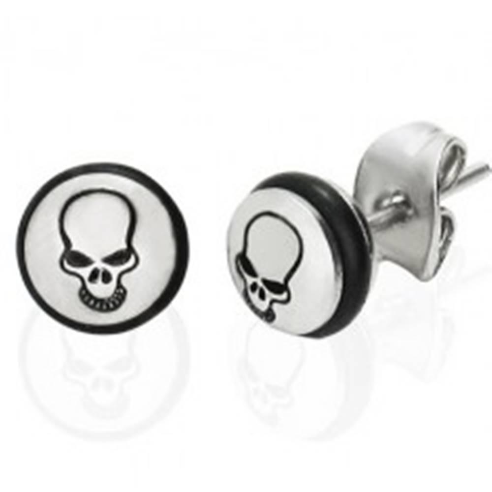 Šperky eshop Oceľové náušnice - kruh s čiernou lebkou a gumičkou