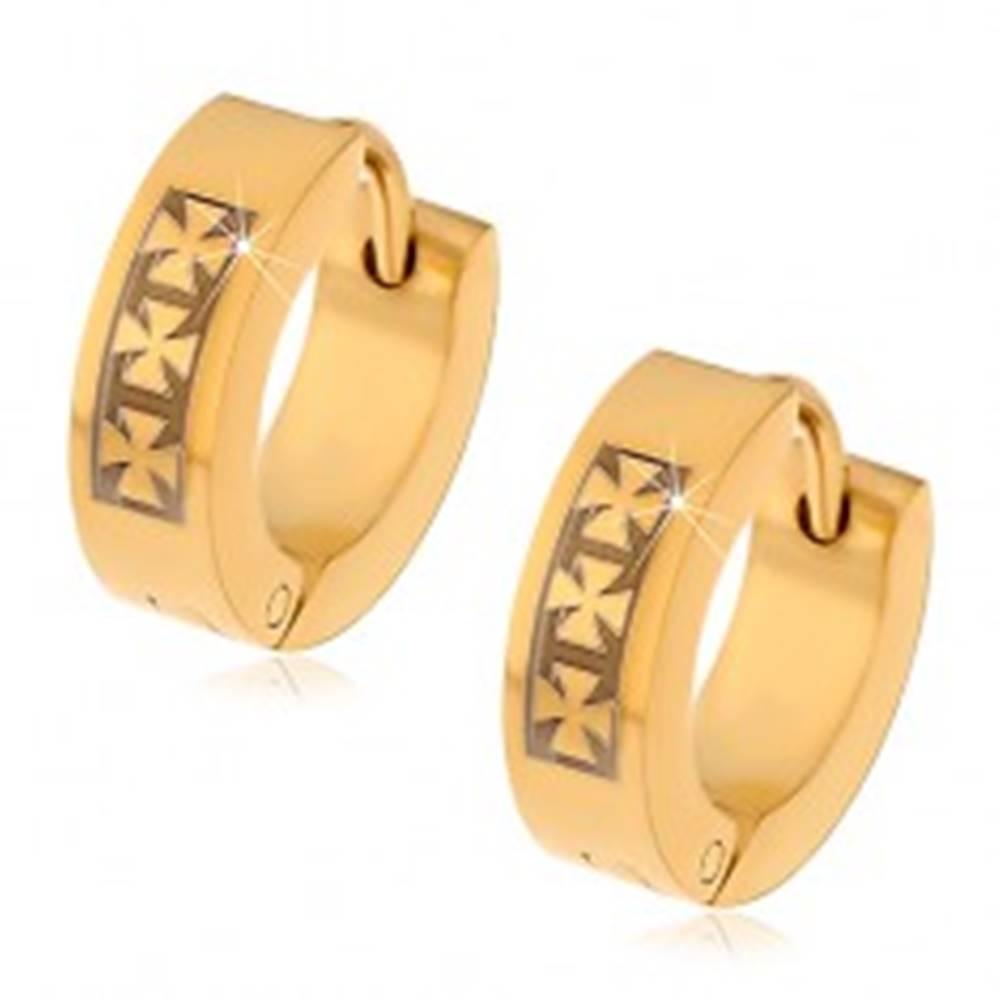 Šperky eshop Oceľové náušnice zlatej farby so vzorom troch maltézskych krížov