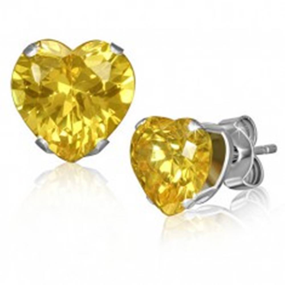 Šperky eshop Oceľové náušnice - žlté trblietavé srdiečko, zirkón