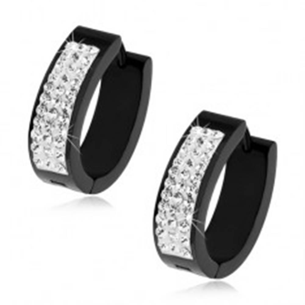 Šperky eshop Oceľové oválne náušnice, čierna farba, biely pásik, číre zirkóny