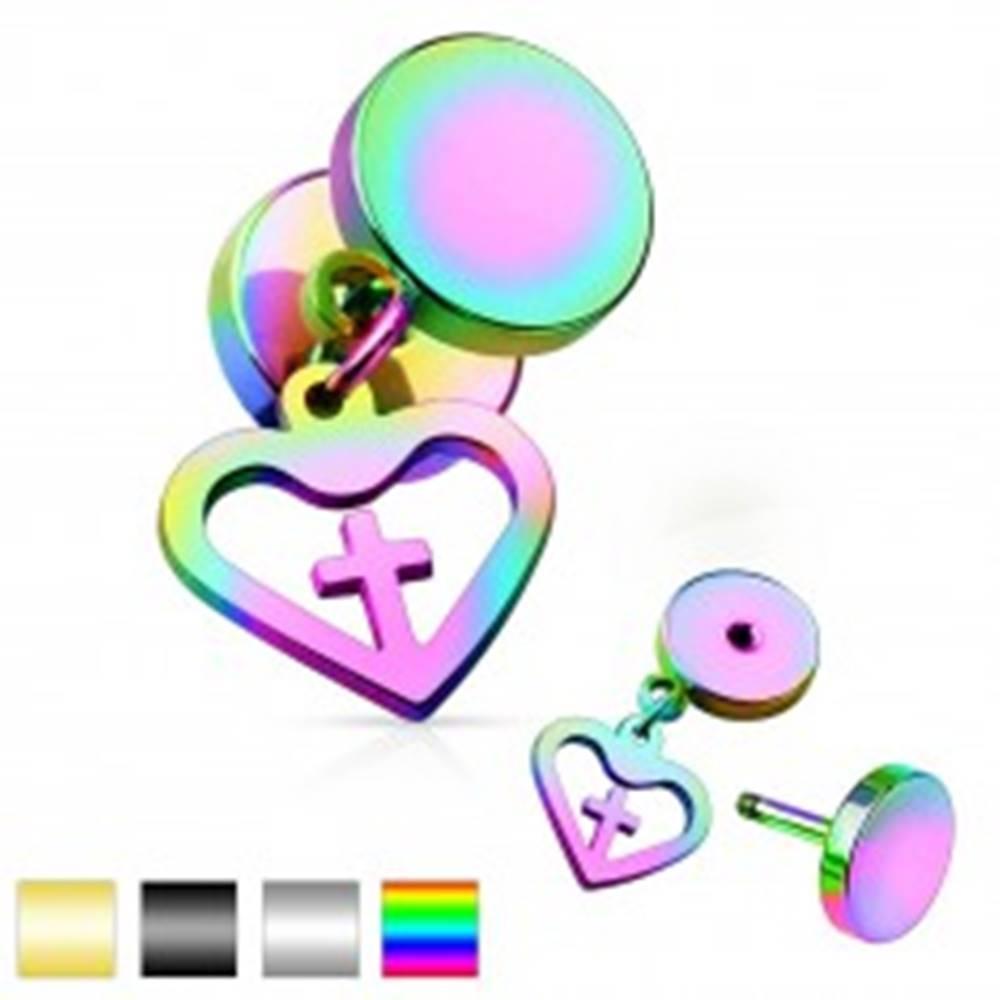 Šperky eshop Oceľový fake plug, dva lesklé kruhy a prívesok - kontúra srdca s krížom - Farba piercing: Čierna