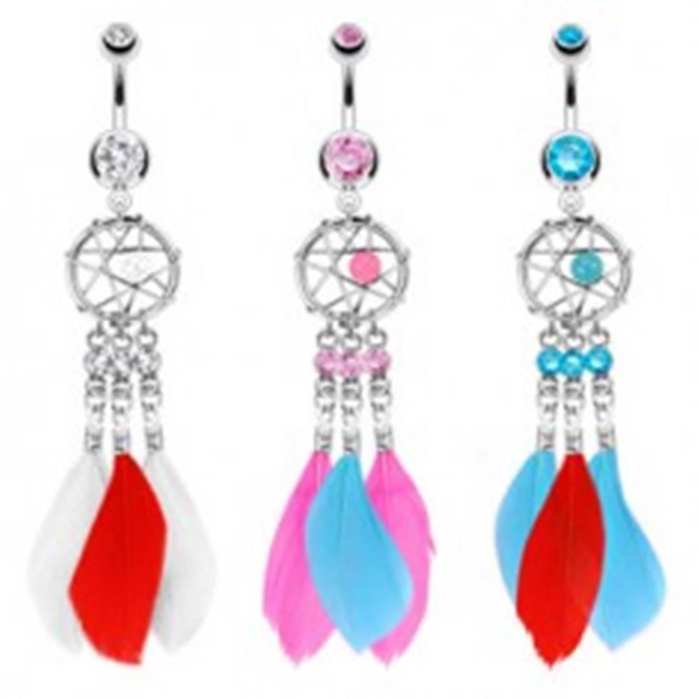 Šperky eshop Oceľový piercing do pupka, lapač snov s korálkou, tri zirkóny a farebné pierka - Farba piercing: Aqua