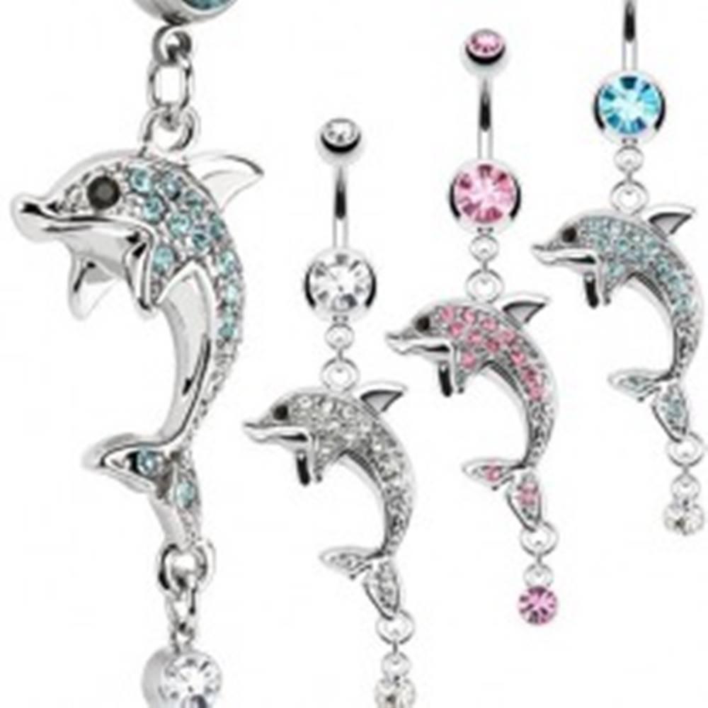 Šperky eshop Oceľový piercing do pupka, strieborná farba, delfín, farebné zirkóny - Farba zirkónu: Aqua modrá - Q
