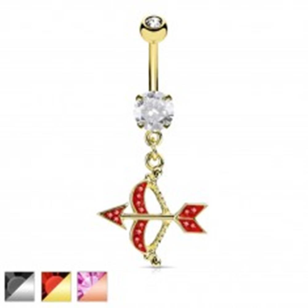 Šperky eshop Oceľový piercing do pupku, luk a šíp zdobený farebnými zirkónmi - Farba piercing: Medená