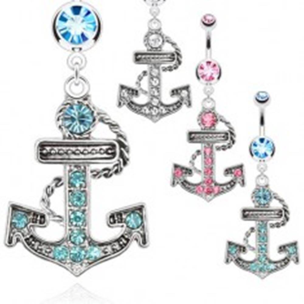 Šperky eshop Oceľový piercing do pupku - zirkónová kotva s lanom - Farba zirkónu: Aqua modrá - Q