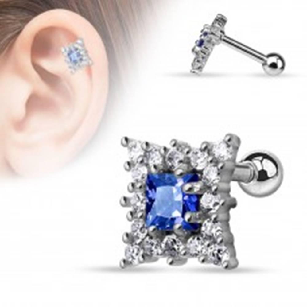 Šperky eshop Oceľový piercing do tragusu, modrý brúsený štvorček a číre zirkóniky