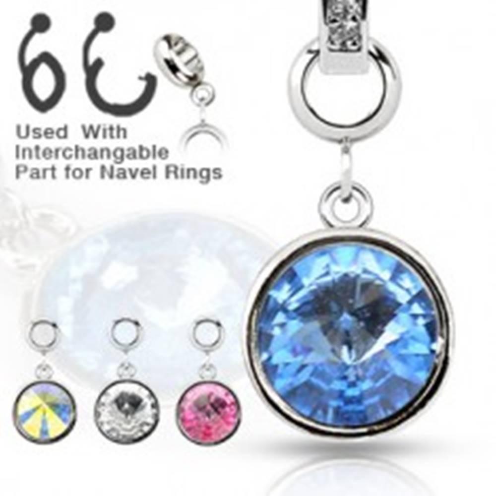 Šperky eshop Oceľový prívesok - okrúhly farebný zirkón na rôzne druhy piercingov - Farba zirkónu: Aqua modrá - Q