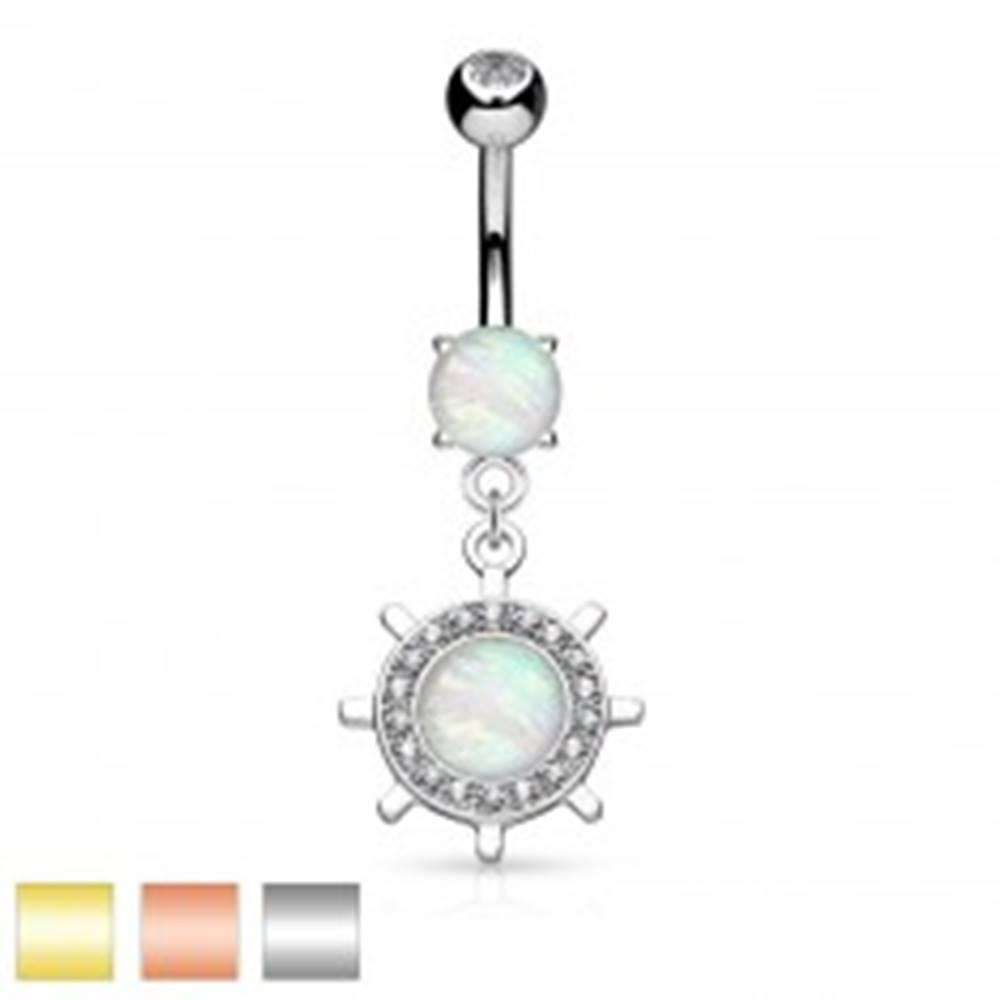 Šperky eshop Piercing do brucha, oceľ 316L, kormidlo so syntetickým opálom a zirkónikmi - Farba piercing: Medená