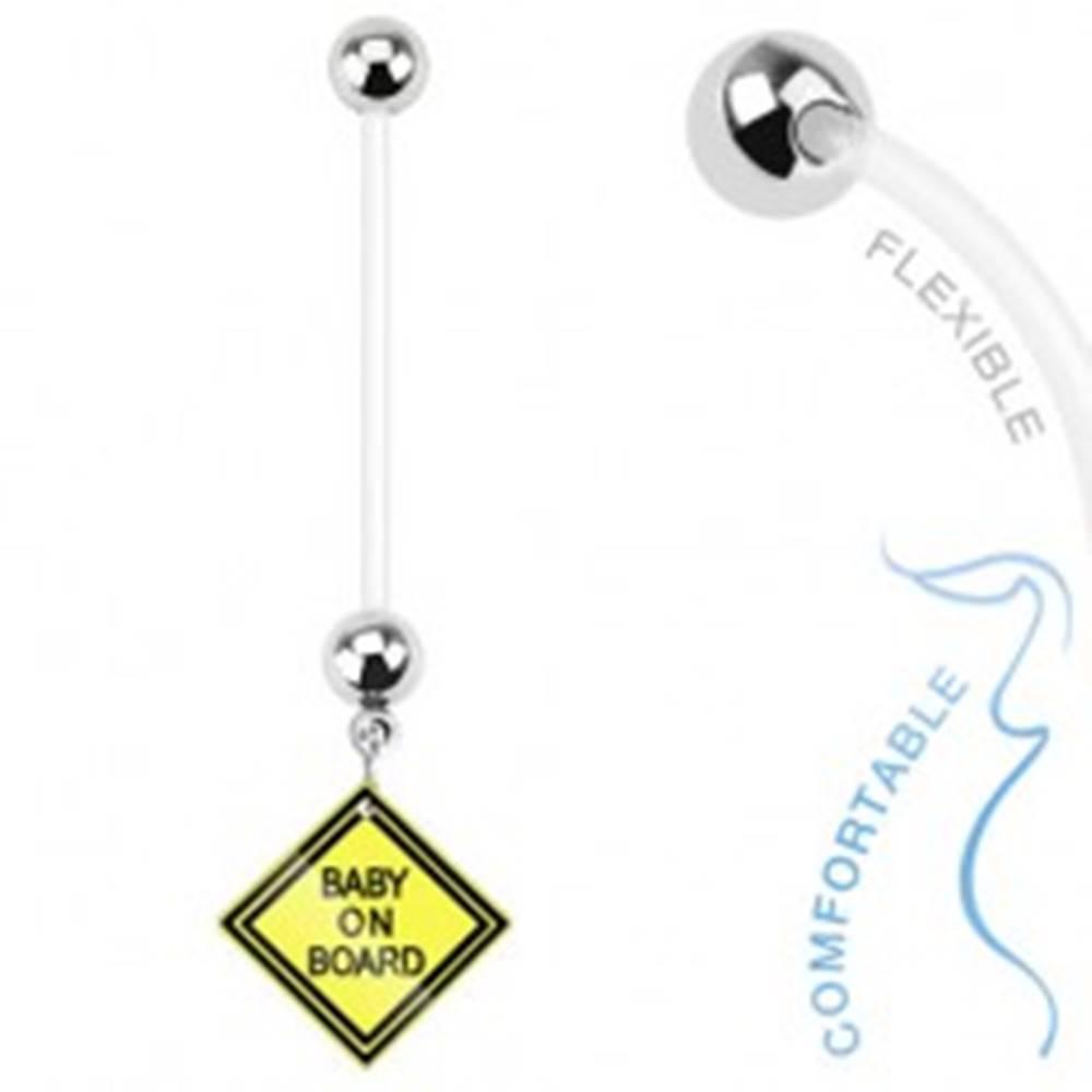 Šperky eshop Piercing do bruška z bioflexu - žltý štvorec, BABY ON BOARD