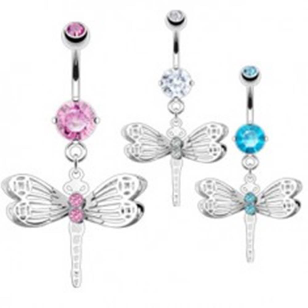 Šperky eshop Piercing do bruška z chirurgickej ocele, farebné zirkóny, zdobená vážka - Farba zirkónu: Aqua modrá - Q