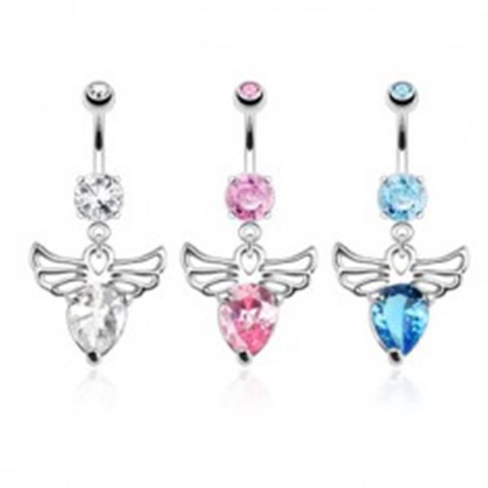 Šperky eshop Piercing do bruška z ocele - anjel s ozdobnými výrezmi, farebné zirkóny - Farba zirkónu: Aqua modrá - Q