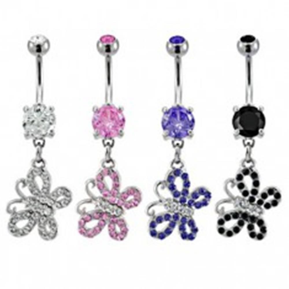 Šperky eshop Piercing do pupku dvojfarebný motýlik so zirkónmi - Farba zirkónu: Čierna - K