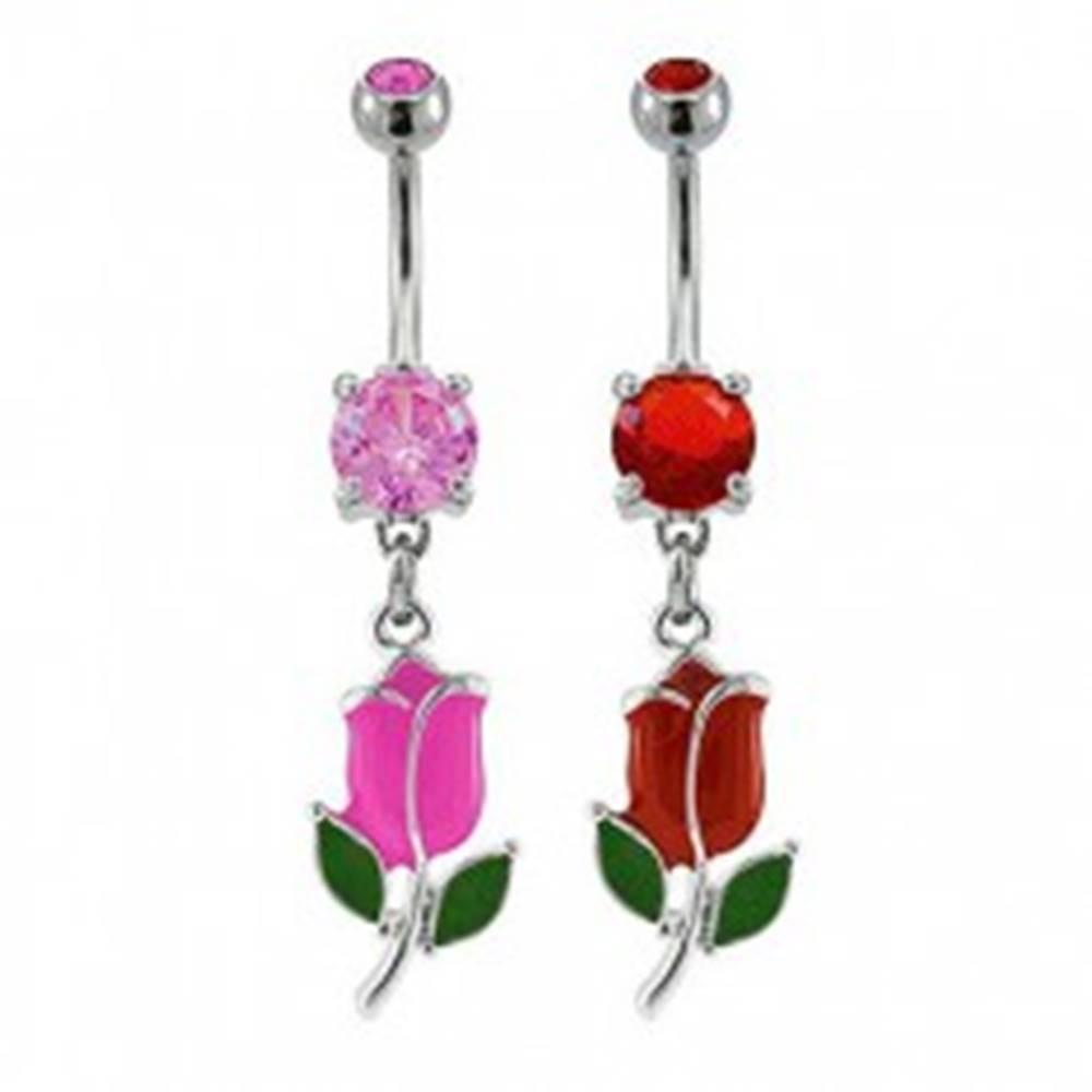 Šperky eshop Piercing do pupku farebný tulipán - Farba zirkónu: Červená - R