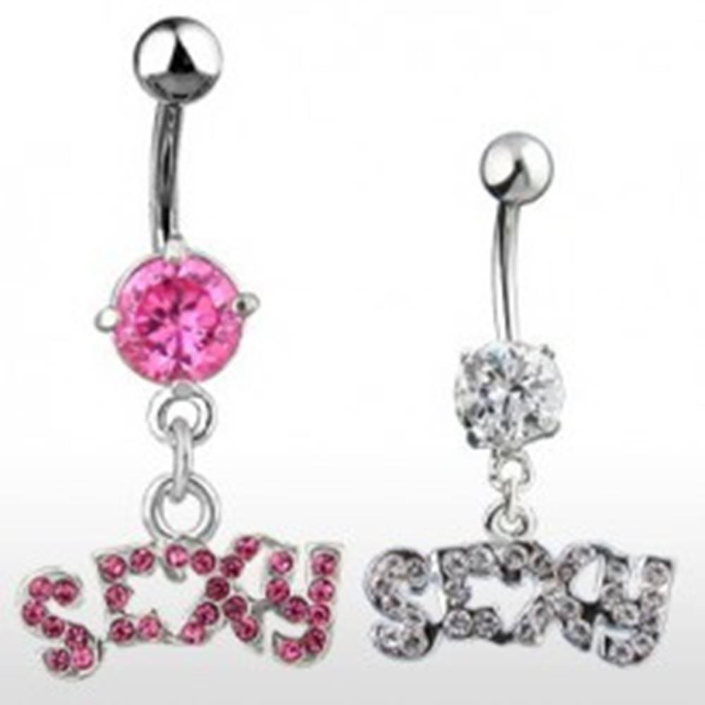Šperky eshop Piercing do pupku - nápis SEXY, zirkónový - Farba zirkónu: Číra - C