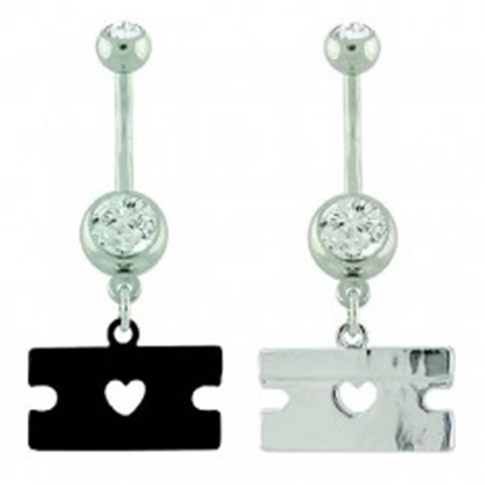 Šperky eshop Piercing do pupku oceľ - žiletka farebná, srdce - Farba piercing: Čierna