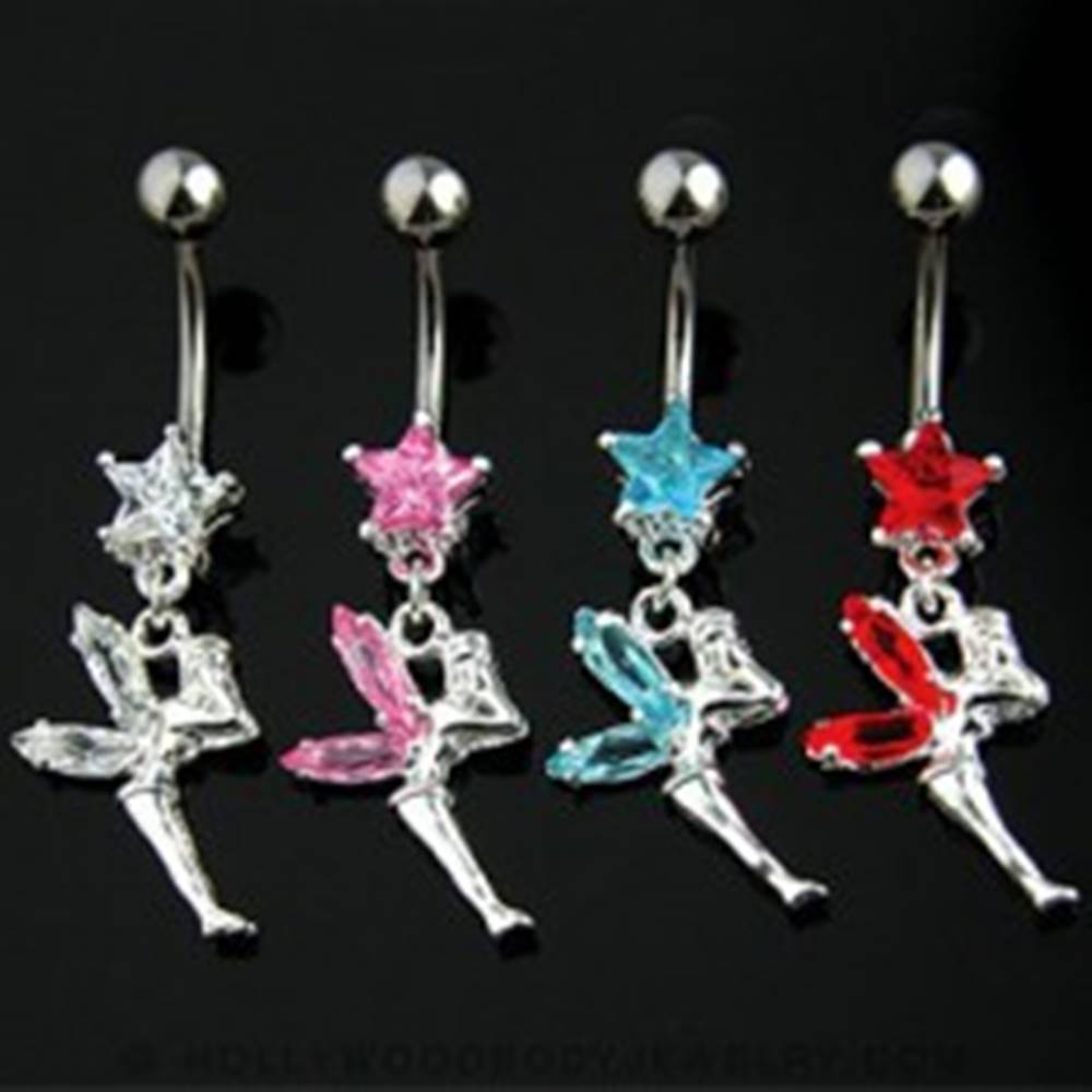 Šperky eshop Piercing do pupku víla s krídlami - Farba zirkónu: Aqua modrá - Q