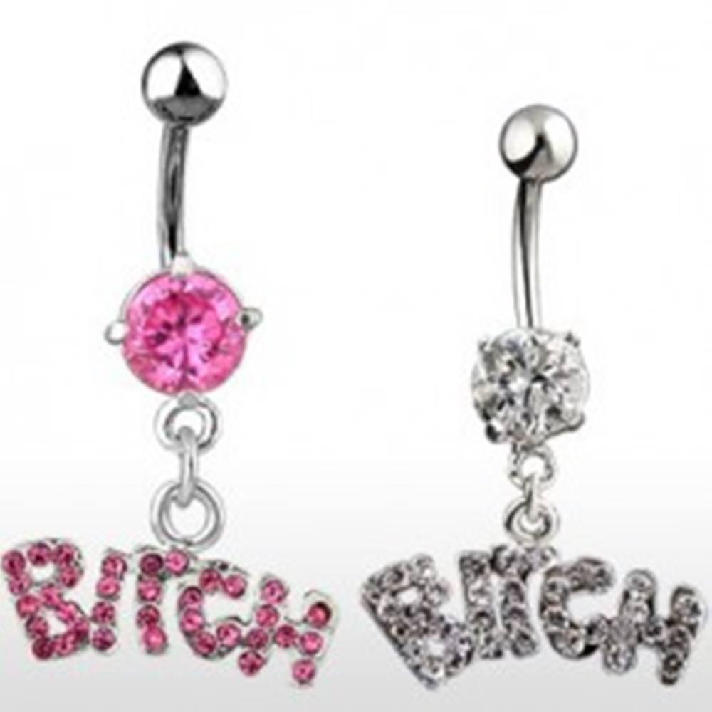 Šperky eshop Piercing do pupku zirkónový - nápis BITCH - Farba zirkónu: Číra - C