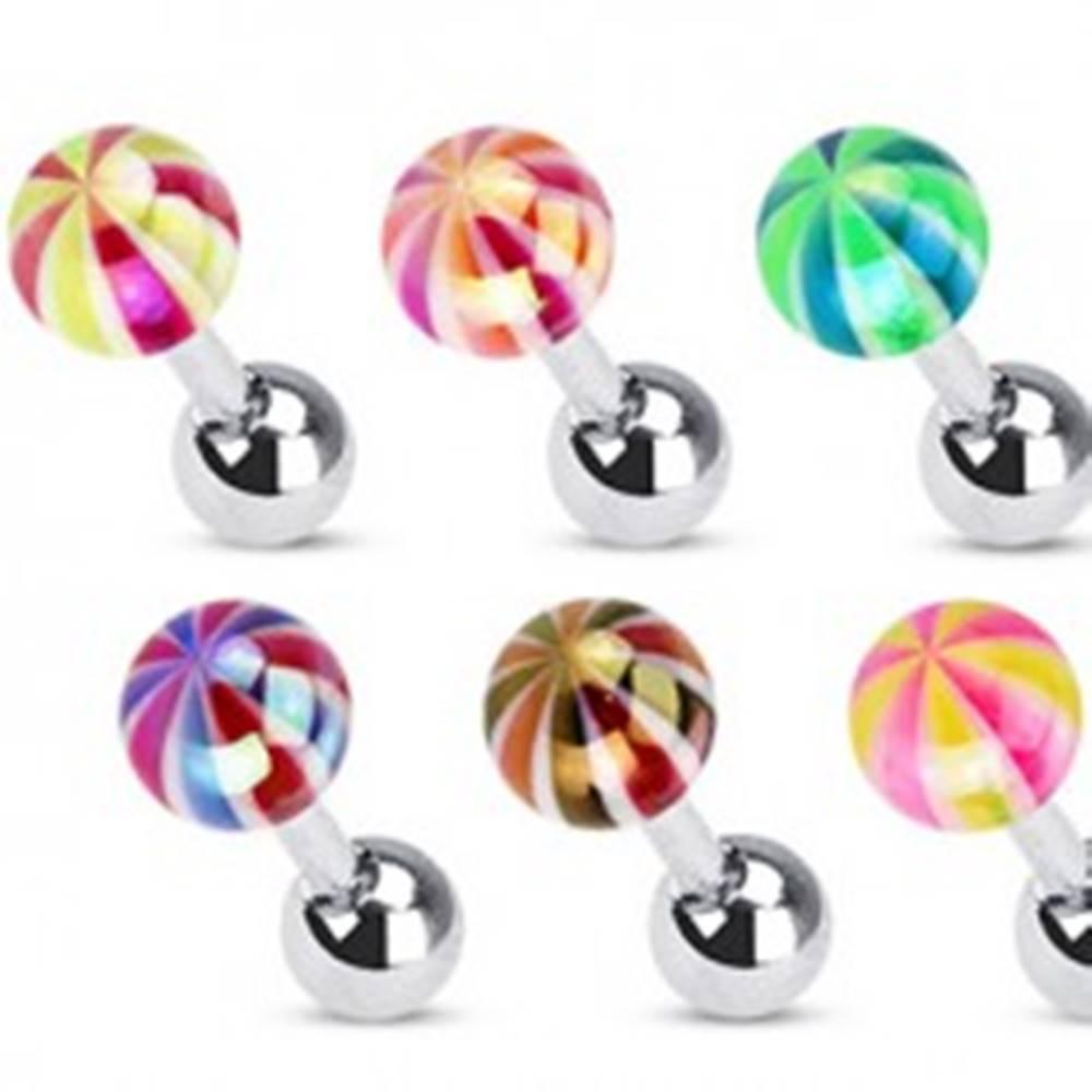 Šperky eshop Piercing do tragusu z chirurgickej ocele - farebná pruhovaná guľôčka - Farba piercing: Čierná - Červená