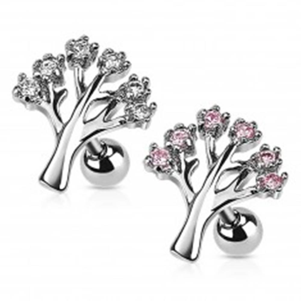 Šperky eshop Piercing z chirurgickej ocele do tragusu - strom života so zirkónmi - Farba zirkónu: Číra - C
