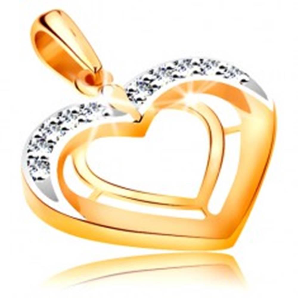 Šperky eshop Prívesok v 14K zlate - dve srdcové kontúry v dvojfarebnom prevedení, zirkóny