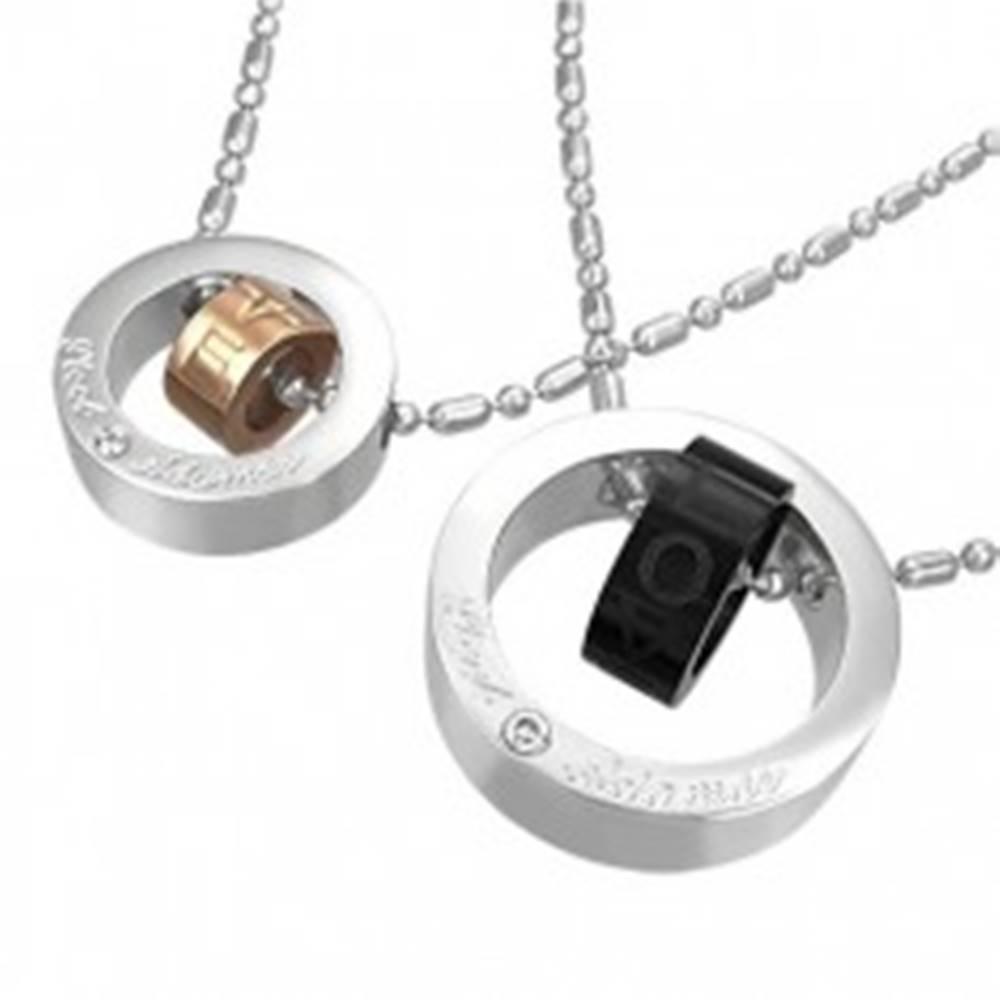 Šperky eshop Prívesok z ocele dvojité kruhy lásky
