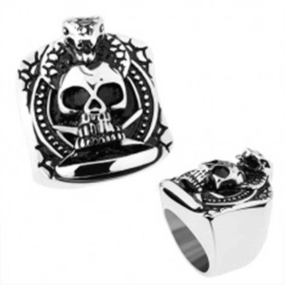 Šperky eshop Prsteň z ocele 316L, strieborná farba, patinovaná lebka, praskliny, kobra - Veľkosť: 56 mm