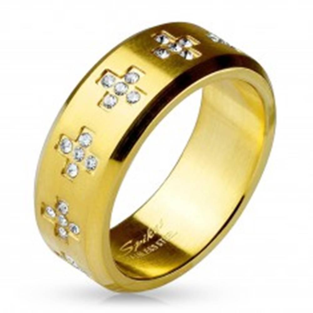 Šperky eshop Prsteň z ocele 316L zlatej farby, číre zirkónové krížiky po obvode, 8 mm - Veľkosť: 59 mm