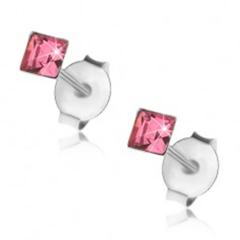 Šperky eshop Puzetové náušnice, striebro 925, štvorcový krištálik v ružovom odtieni, 3 mm