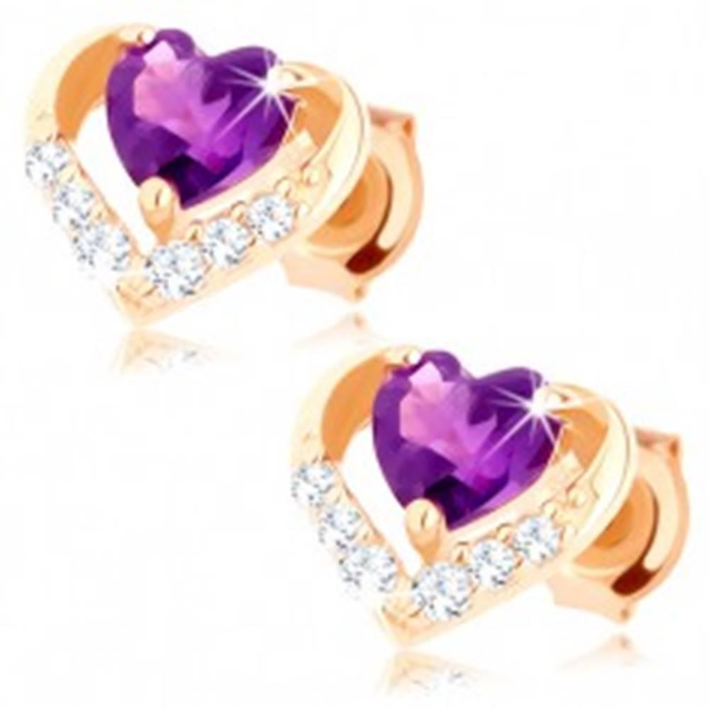 Šperky eshop Puzetové náušnice zo žltého 14K zlata - zirkónový obrys srdca, fialový ametyst