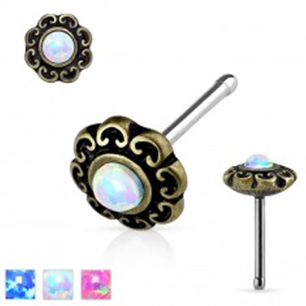 Šperky eshop Rovný piercing do nosa z ocele 316L, patinovaný kvet so syntetickým opálom - Farba: Biela