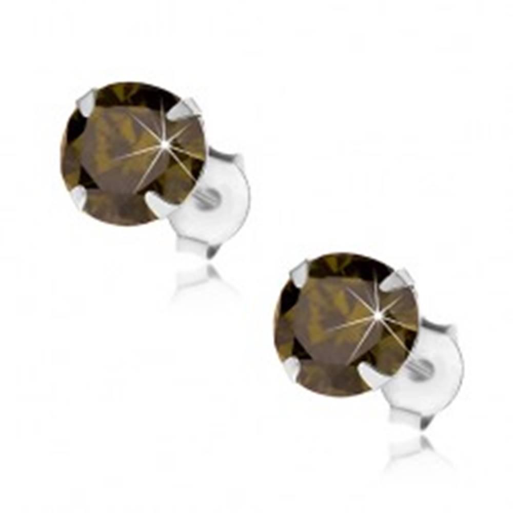 Šperky eshop Strieborné 925 náušnice, okrúhly ligotavý zirkón zelenej farby, 7 mm