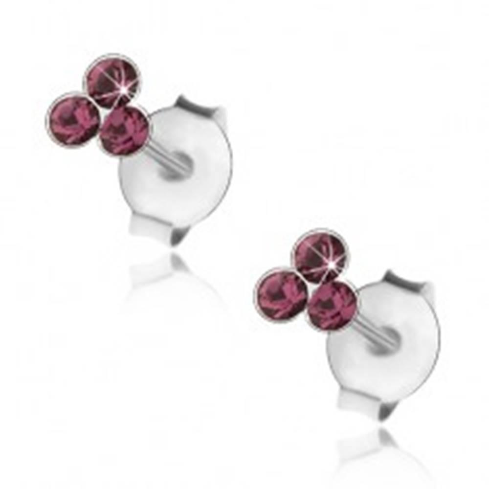 Šperky eshop Strieborné 925 náušnice, tri okrúhle krištáliky Swarovski fialovej farby