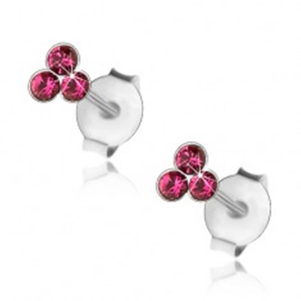 Šperky eshop Strieborné 925 náušnice, trojica okrúhlych krištálikov vo fuksiovom odtieni