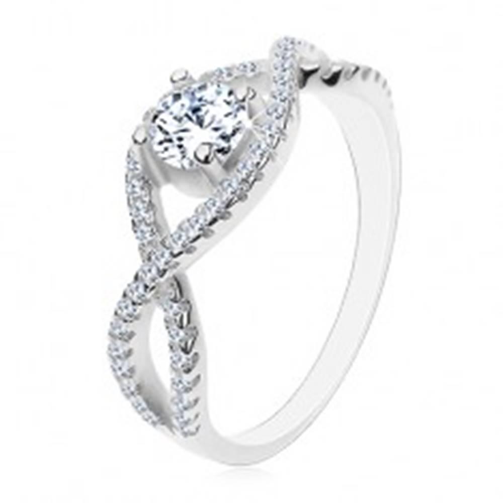 Šperky eshop Strieborný prsteň 925, prepletené zirkónové línie, okrúhly brúsený zirkón - Veľkosť: 48 mm