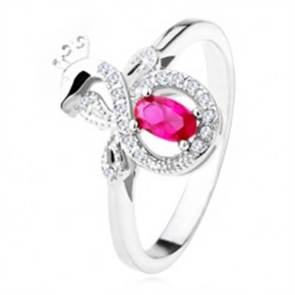 Šperky eshop Strieborný prsteň 925 s tmavoružovým oválnym kameňom, zirkónový páv - Veľkosť: 50 mm