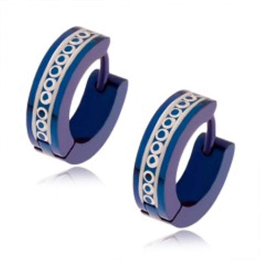Šperky eshop Tmavomodré náušnice z ocele, okrúhle a rovné zárezy striebornej farby