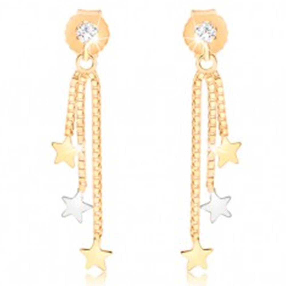 Šperky eshop Visiace náušnice z 9K zlata, tri hviezdičky na retiazkach, číry zirkón