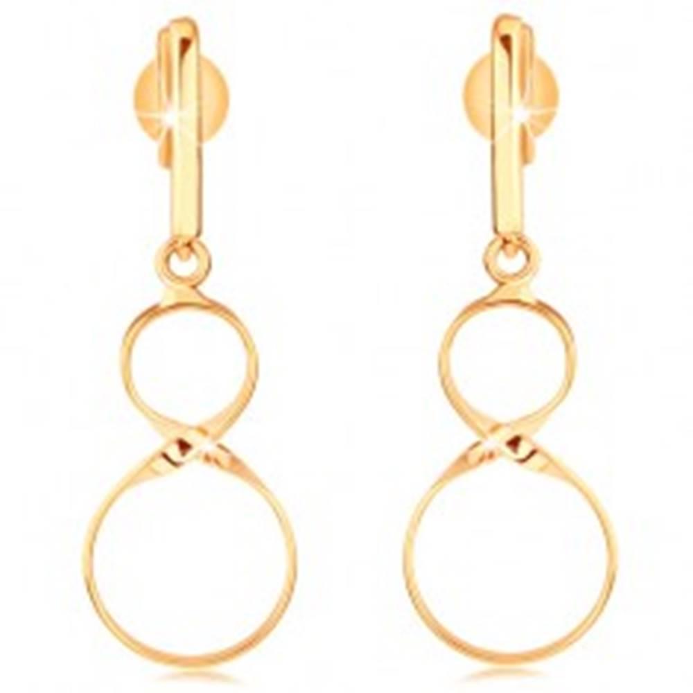 Šperky eshop Zlaté náušnice 375 - lesklý hladký pásik s visiacou osmičkou, puzetky
