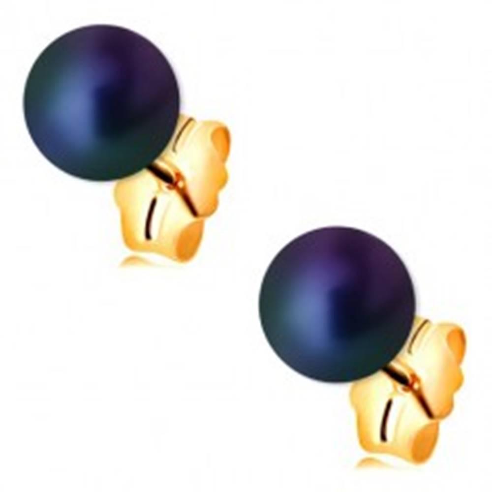 Šperky eshop Zlaté náušnice 585 - guľatá perla s farebným odleskom, puzetové zapínanie