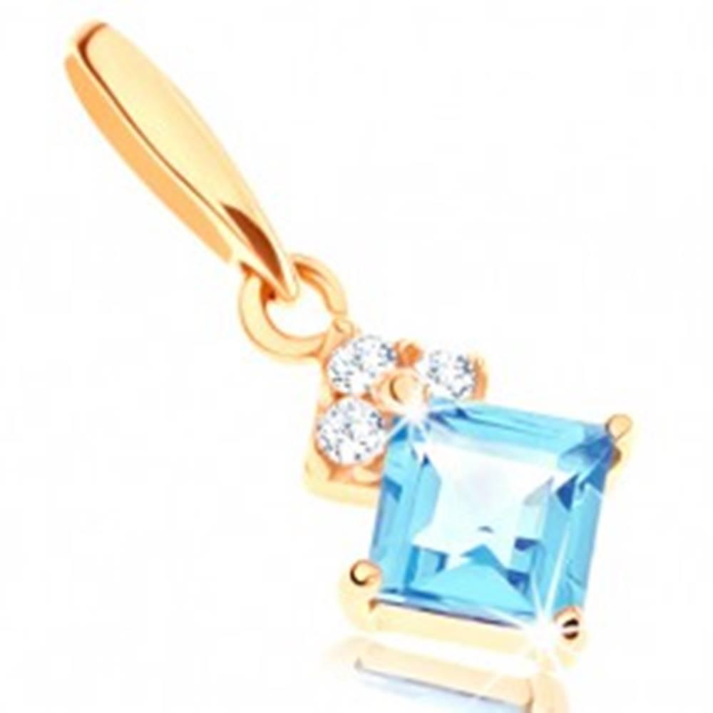 Šperky eshop Zlatý prívesok 585 - štvorcový modrý topás, číre ligotavé zirkóniky