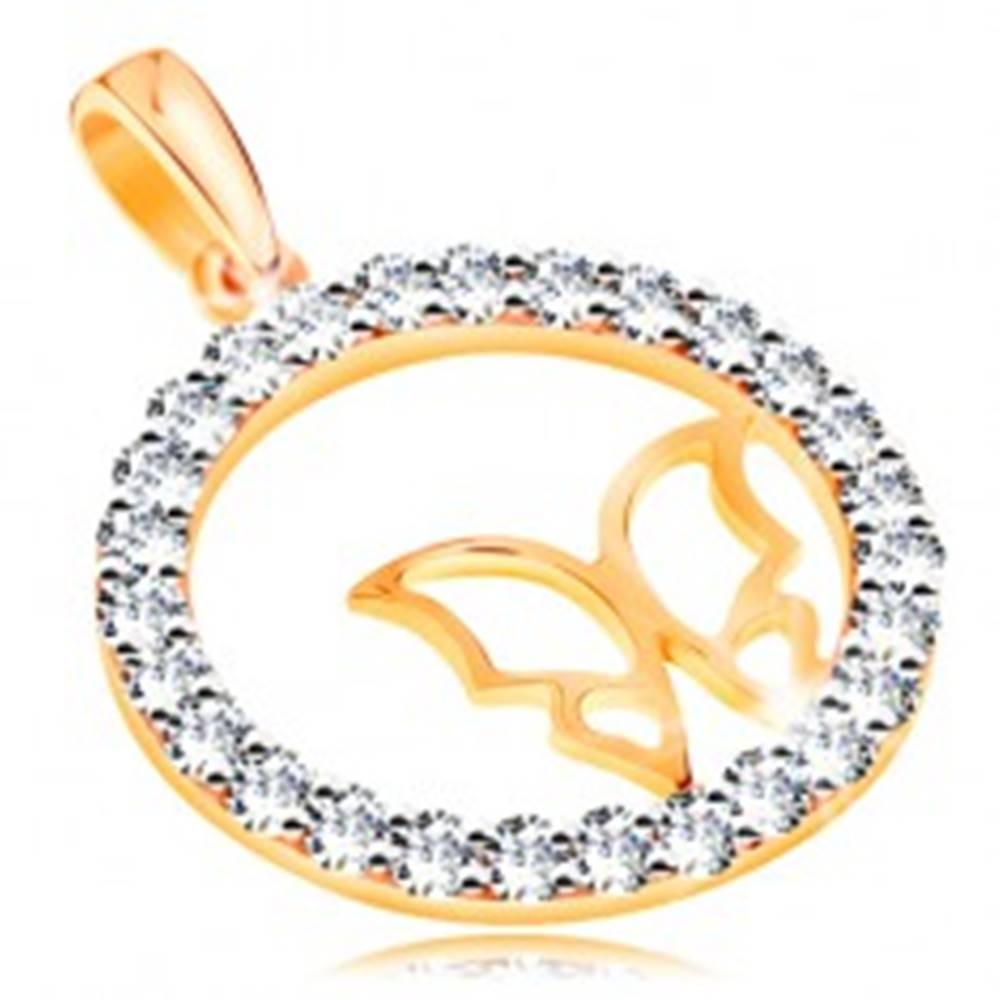 Šperky eshop Zlatý prívesok 585 - trblietavá zirkónová obruč, tenký lesklý obrys motýľa