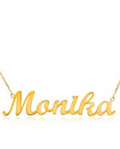 Náhrdelník v žltom zlate 585 - tenká retiazka, lesklý prívesok Monika
