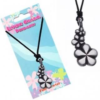 Čierny náhrdelník - šnúrka, prívesok, tri kvety