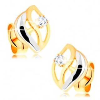 Dvojfarebné náušnice v 14K zlate - tri zvlnené línie, okrúhly žiarivý briliant