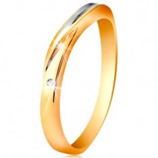 Dvojfarebný prsteň zo zlata 585 - vlnka z bieleho zlata, drobný číry zirkón - Veľkosť: 49 mm